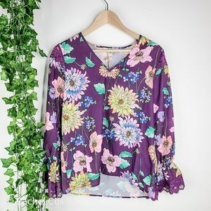Floral Bell Sleeve Lace Top Ella Moon